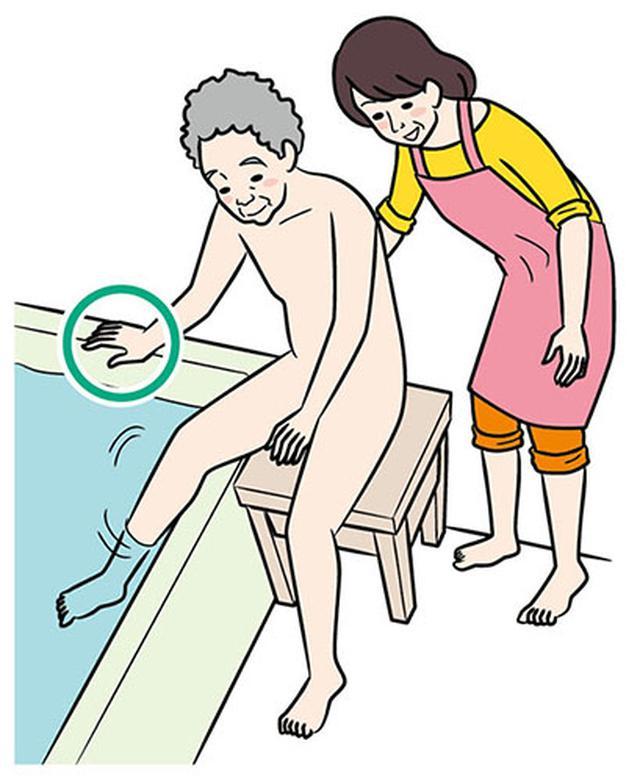 画像: ①洗い台に座って脚から入る