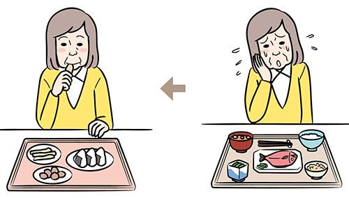 画像: ①食材を手づかみできるよう工夫する
