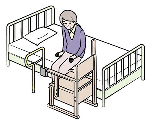 画像: ①ベッドサイドに座る