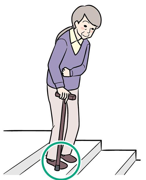 画像: ③マヒのない側の足をすばやく下ろす