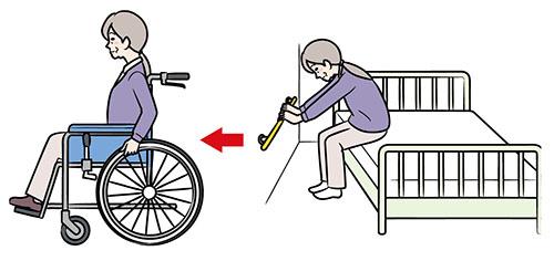 画像: 車イスに移乗して移動する