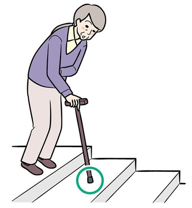 画像: ①杖を下の段につく