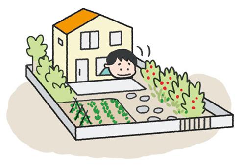 画像: ①自宅の庭