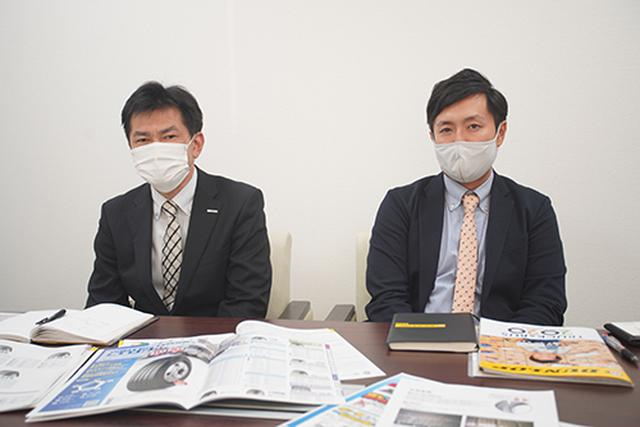 画像: なにがわからないかも、わからない初心者に付き合わされることになったダンロップタイヤ北海道株式会社の対馬秀明さん(右)と住友ゴム工業株式会社の志村博史さん。親切にありがとうございました。