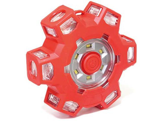 画像: ●LED数量/12個(赤色×6、白色×6)●点灯モード/6種類(赤色×5、白色×1) ●電源/単3電池×3●耐荷重/500㎏●サイズ/122㎜×122㎜×38㎜ ●重量/317g(電池含む)