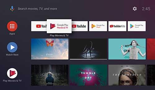 画像: Android TV9.0搭載(アップグレード可能)で、「Playストア」にアクセスして「YouTube」「Amazonプライム・ビデオ」「Netflix」などのアプリを入手すれば、多彩な動画を視聴可能。