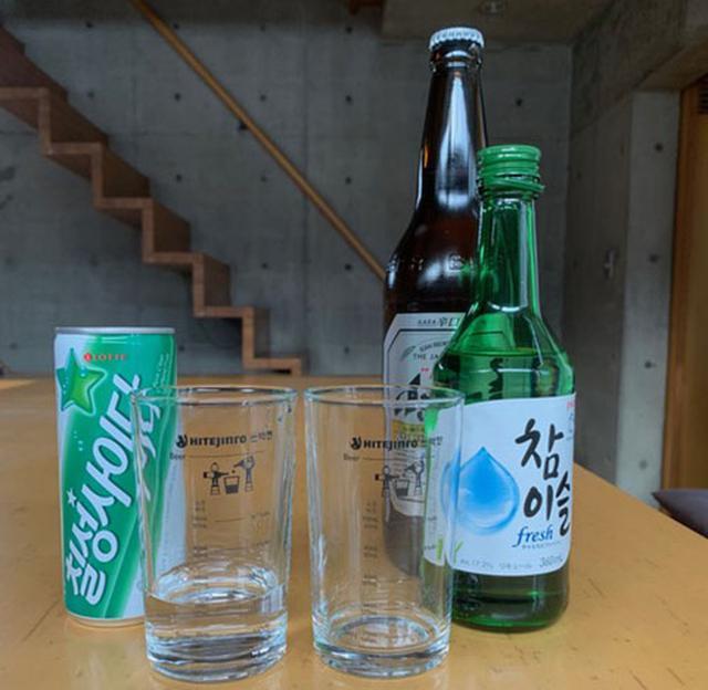画像: 左端の缶は韓国で人気のソーダ「チルソンサイダー」。爆弾酒に加えるとマイルドになります。
