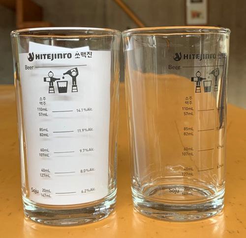 画像: 焼酎を入れる目盛りと、出来上がる爆弾酒のアルコール度数が書いてあります(見えやすいように白い紙を入れました)。