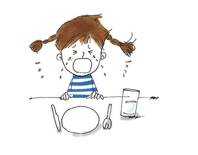 画像: ▼ 食卓で泣きじゃくる