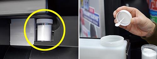 画像: スプーン付きの塩容器と専用置き場所が用意され、使いやすさは◎。