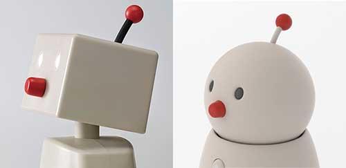 画像: 初代BOCCO(左)と、BOCCO emo(右)。可動するチョンマゲがチャームポイント。鼻をひねると音量が調節できる。