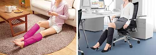 画像: 電源を入れると足首から順にエアバッグが膨らみ、脚を絞るように指圧。血行を促進するほか、疲労回復や痛み緩和に効果がある。サイドファスナーの採用で着脱も楽になった。