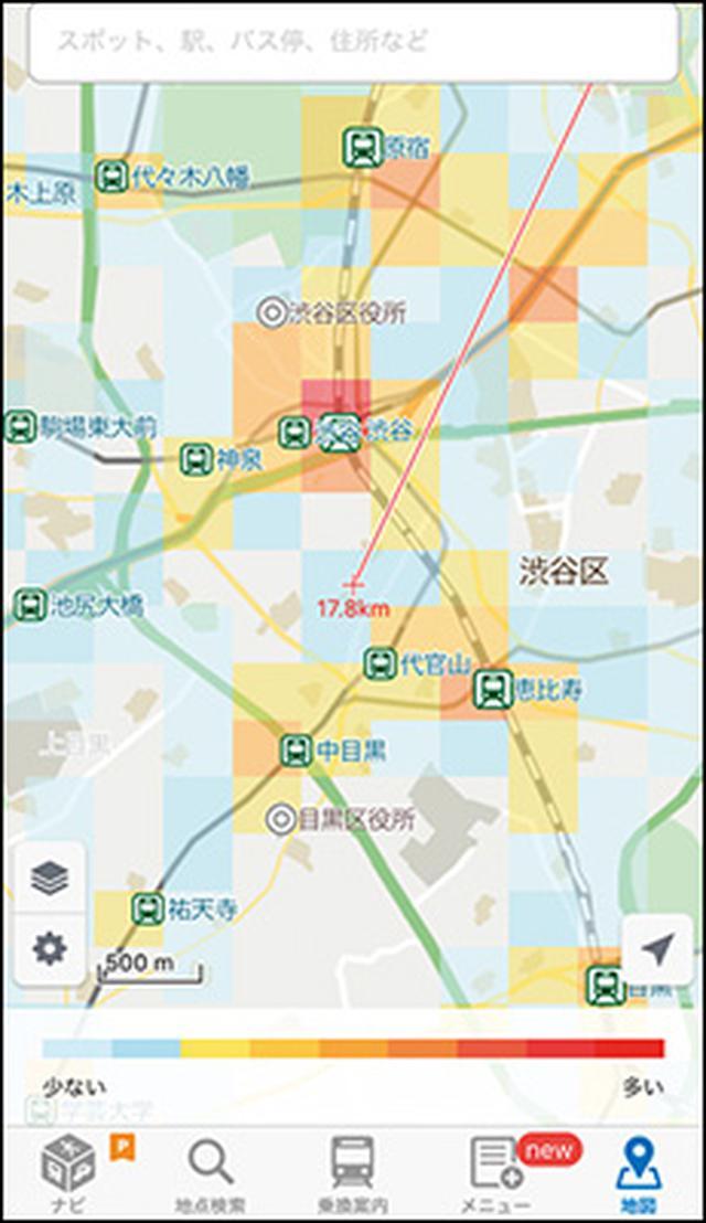 画像: Yahoo!MAPとは違って、過去の混雑状況は表示できないが、そのぶん更新間隔は5分ごとと、非常に早い。