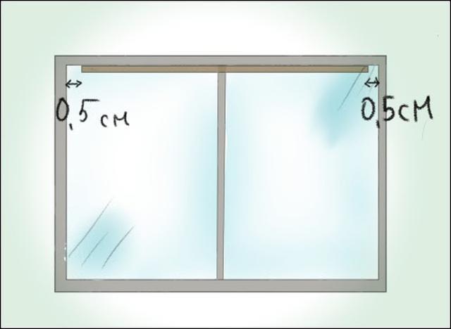 画像: 「天井付け」の場合、窓枠の内側より1cmほどレールを短く