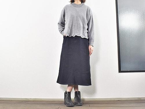 画像: カジュアルで大人びたデザインの「縦横ストレッチデニムロングスカート」