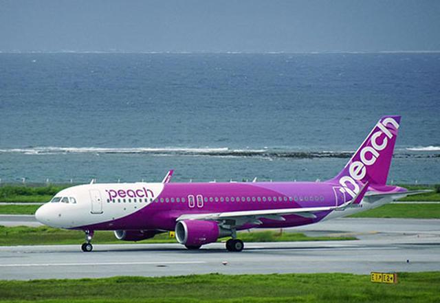 画像: Peachが運航するエアバスA320(機材:JA809P)。那覇空港(2020年7月 筆者撮影)