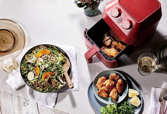 画像: 加熱したい食材をバスケットに入れて温度と時間を設定するだけで簡単にノンフライ調理ができる。