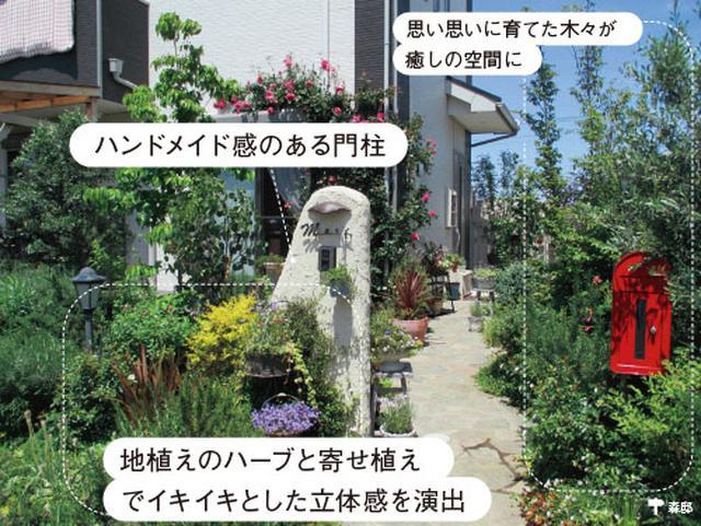 """画像2: 門扉まわり&アプローチの実例 """"家の顔""""を草花でセンスよくきれいに飾る"""