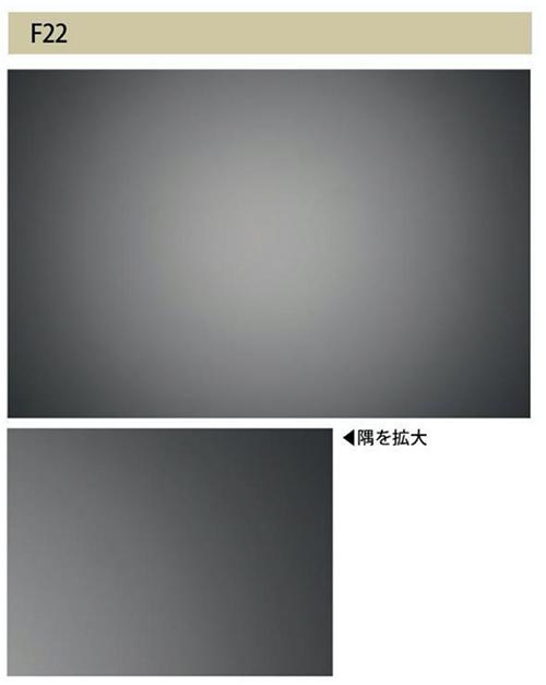 画像: 本レンズの場合、絞り開放のF4.5でも、F22でも、はっきりとした周辺光量落ちが観察されます。必要なシーンでは後処理で対応しましょう。