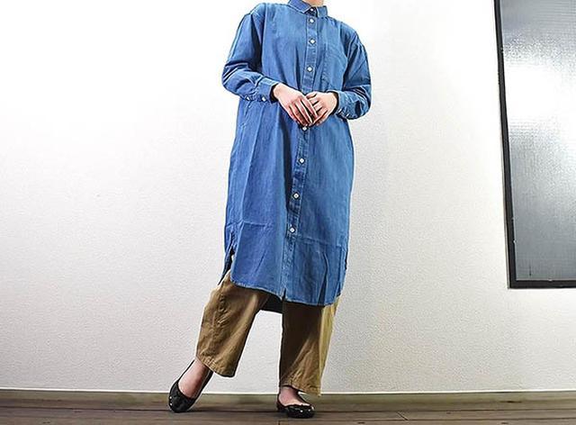 画像: ワンマイルコーデにぴったりな「インド綿デニムシャツワンピース」