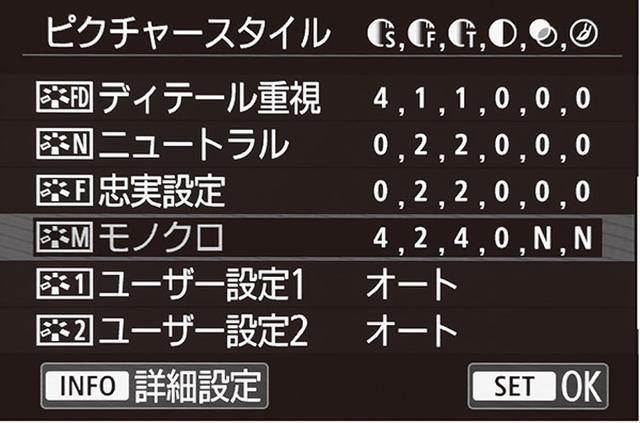 画像: キヤノン・EOS RPでは、仕上がり設定は「ピクチャースタイル」と呼ばれ、そこで「モノクロ」を選択。さらに、詳細設定で「シャープネス」「コントラスト」などの調整が可能。