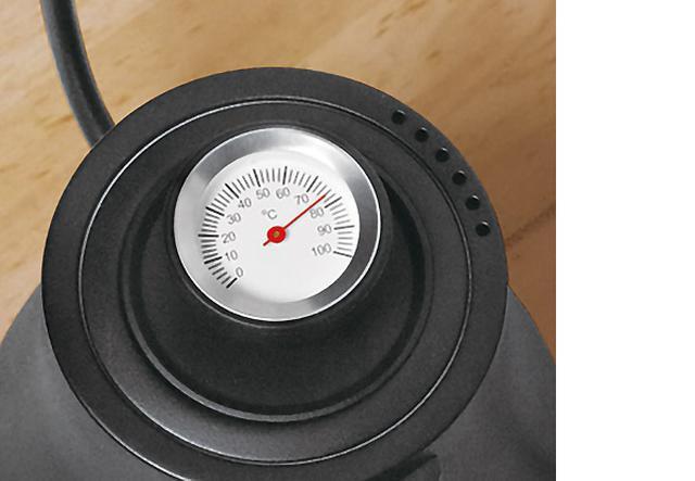 画像: 0~100℃まで測れるアナログな温度計付き。コーヒーのほか、紅茶や日本茶にも便利。