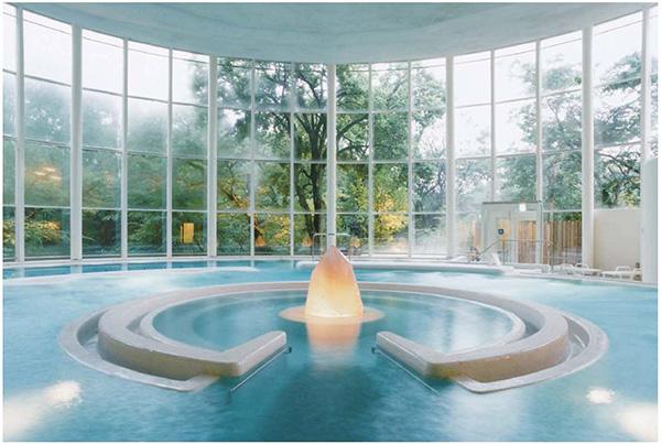 画像: 緑に囲まれた男女共用プール