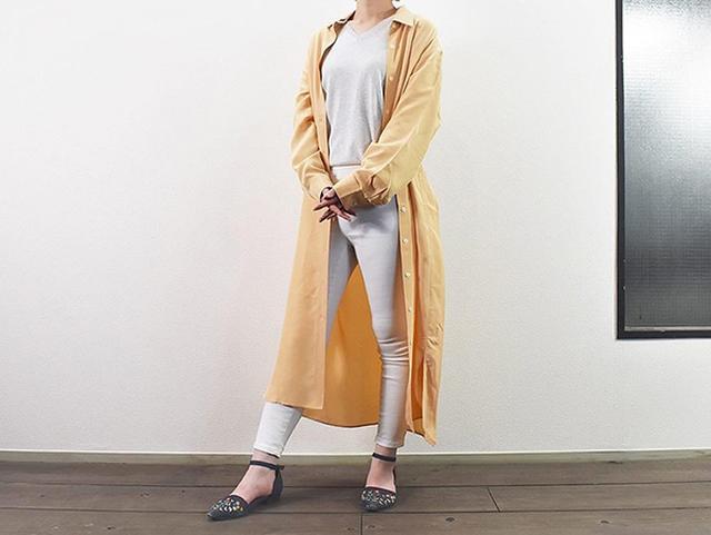 画像: 春コーデにぴったりな「シャイニーレーヨンロングシャツワンピース(長袖)」