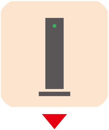 画像: ③ONU(回線終端装置、モデム) ONU本体に付いている専用ケーブルを光コンセントに接続。