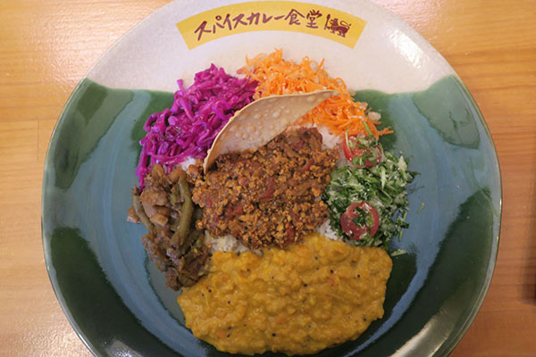 画像: カレーを真上から見たところ。上のオレンジ色は「人参サンボール」(免疫力アップ)、時計回りに「人参サンボール」(免疫力アップ)、「パリップ 豆カレー」(植物性タンパク質)、「辛!ジャガ芋とインゲンのカレー」(植物繊維が豊富)、「紫キャベツのピクルス」(美容・デトックス効果)、中央が「ベジタブルキーマ(=豆腐)」、「パパダム」(豆粉のせんべい)。これらの混ぜ合わせで〝無限の味変″を楽しむことが出来る。