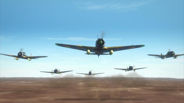 画像: 一面の荒野を編隊を組んだ戦闘機がとぶんでいく (c)「荒野のコトブキ飛行隊 完全版」製作委員会
