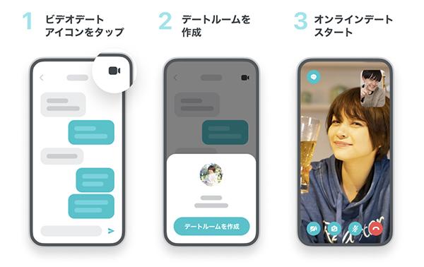 画像: ペアーズのビデオデートは、相手と複数回メッセージを交換しないと利用できない。 www.pairs.lv