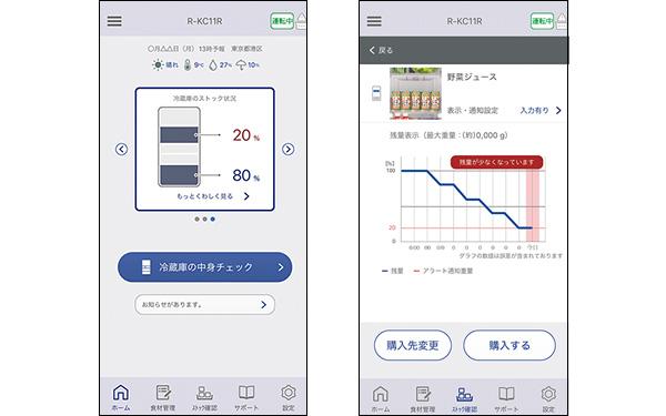 画像: 食品のストック状況を専用のスマホアプリで見られる。日ごとの残量推移も確認でき、登録したECサイトから購入することも可能だ。