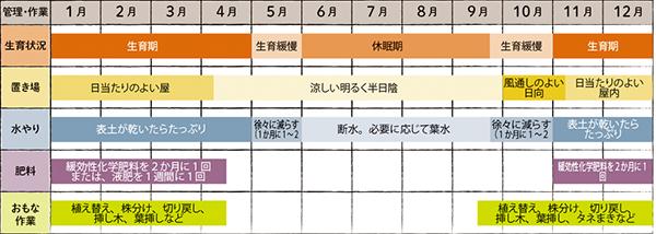画像: 属ごとの栽培カレンダー