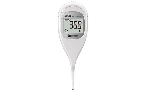 画像: 見やすい大型液晶表示搭載のスマートフォン対応予測式体温計。腋下での予測検温は、30秒で測定可能。測定終了をブザー音と光るスイッチで知らせてくれる。内部メモリーだけでも90セット記録できる。