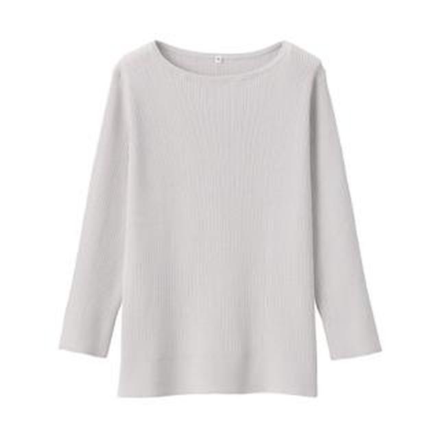 画像: 【無印良品】UVカットコットンシルクボートネックセーター購入レビュー!華奢見えがかなう春ニット