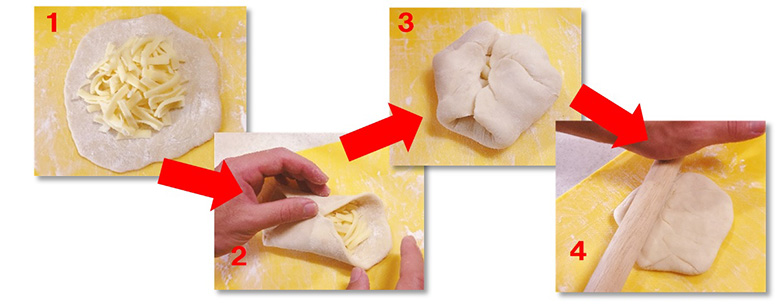 画像: まずは上下、次に左右を合わせてからめん棒で伸ばし、形を整えます。