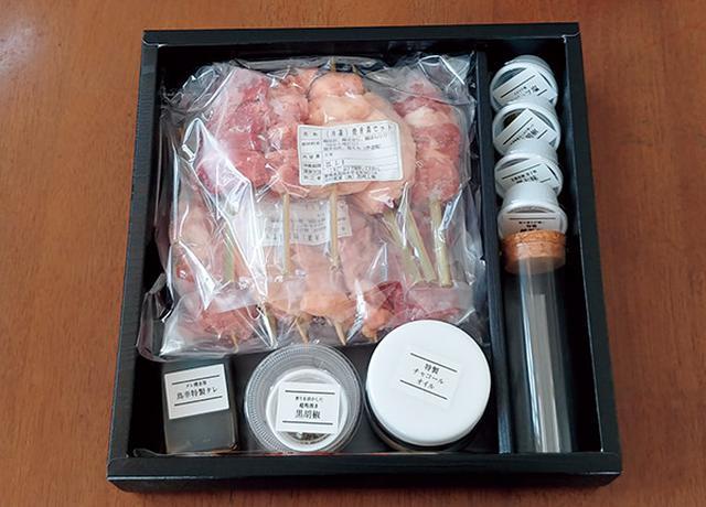 画像: もも、手羽、せせり、ぼんじり、砂肝が2本ずつ冷凍で届く。