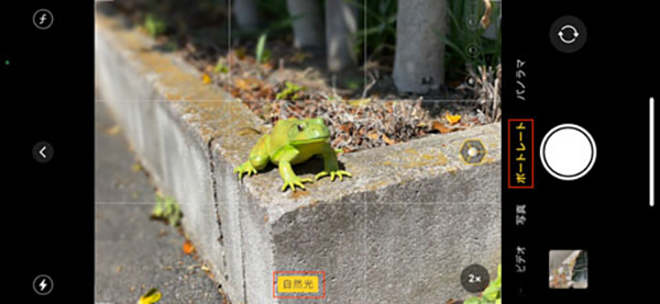 画像: 「自然光」などのラベルが黄色で表示されるように、被写体との距離を調整しよう。