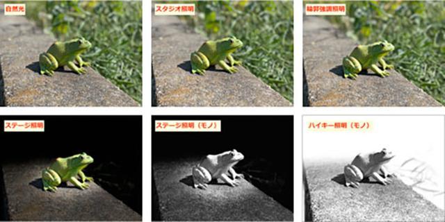 画像: 晴天の屋外で撮影。上3つは人物の顔の輪郭部分などで違いが現れやすい。