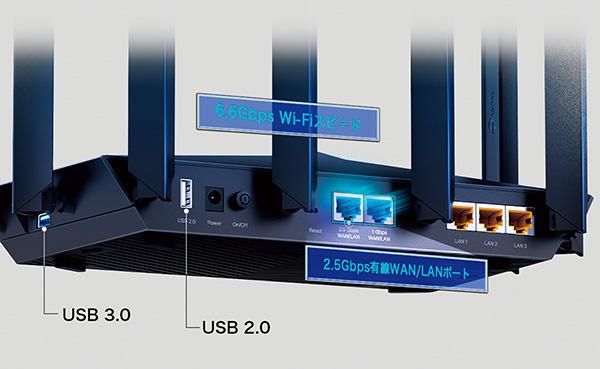 画像: 高速回線に対応するべく、WAN側でもLAN側でも使える2.5Gbps有線ポートを装備。ホームゲートウェイに2.5Gbpsポートがあれば、高速通信が可能だ。