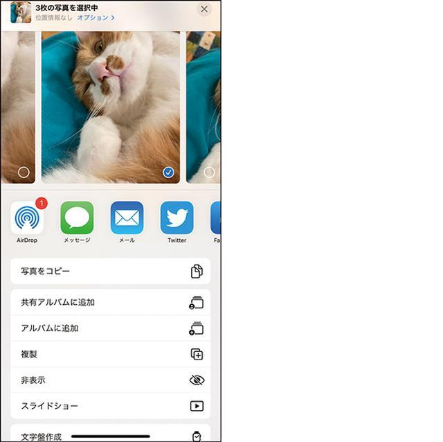 画像: 「写真」アプリで選択し、「非表示」にできる。下の設定を行えば、非表示アルバムが表示されない。