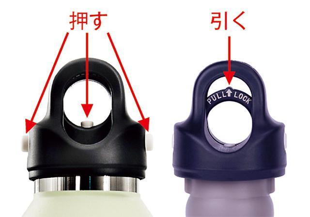 画像: 三つのボタンを同時に押すとオープン(左)、トリガーを引くとロック(右)。