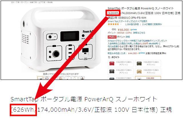 画像: Amazonで販売されているSmartTapの「PowerArQ」という製品の例。 「 626Wh 」という数値に注目 して選びたい。