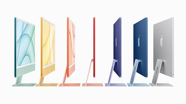 画像: 4.5Kの24.0型液晶ディスプレイを搭載したオールインワンMac。下位モデルでも8コアのM1チップに、メモリーは8Gバイト、ストレージは256GバイトSSDと十分なスペック。ボディはブルー、 グリーン、 ピンク、 シルバー、 イエロー、 オレンジ、 パープルの全7色(下位モデルは4色)展開。