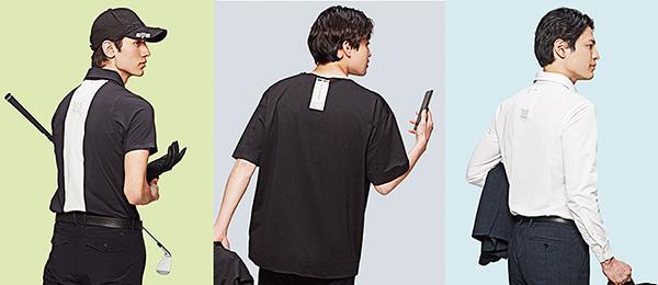 画像: 本機をセットするポケットが付いた、デサントのゴルフウェア(写真左)、エストネーションのシャツ(中央)、エディフィスのビジネスシャツ(右)などが発売。