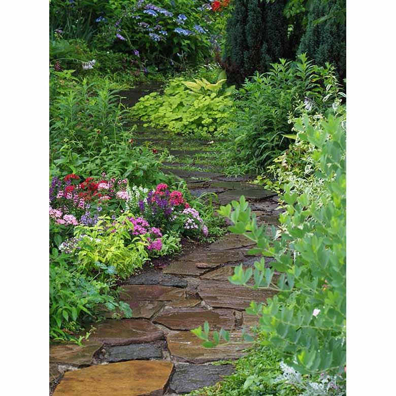"""画像: 多くの植物に覆われる庭園と、そこに敷かれた石畳の曲がり具合。その変化に富んだ色彩や構図が、フォトジェニックに感じられた。そして、雨によって濡れた事で、石畳などの色や質感に深みが増し""""写真的な深み""""にもつながったように思える。 オリンパス OM-D E-M1 MarkII LUMIX G VARIO 35-100mm / F4.0-5.6 ASPH. / MEGA O.I.S(64mmで撮影) 絞り優先オート F8 1/40秒 -0.3補正 WB:オート ISO800"""