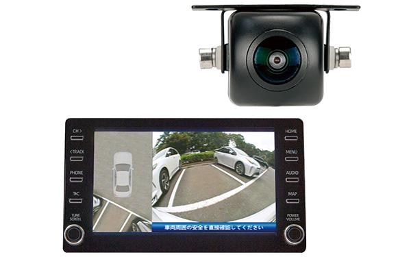 画像: カーナビや車載モニターとコントロールユニットをRCAケーブルで接続する。トップビューの表示は、リアルタイムで表示されるリアカメラの左右どちらにも切り替え可能。設定時の車両タイプは、「セダン」「SUV」「ミニバン」から選ぶ。