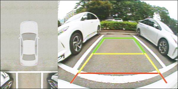 画像: あくまでも目安としてだが、ギアをリバースに入れると、ガイド線も表示できる(オン/オフ可能)。ただし、表示位置は中央で固定となる。