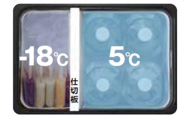 画像: 仕切り板を使って庫内を二つにセパレート。片側を冷凍庫に、もう片側を冷蔵庫にすることができる。